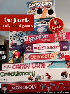 Looking to stock up on family night fun? There are our Favorite family board games, those we have loved and even a few on our wish list. Family Board Games, Fun Board Games, Fun Games, Games For Kids, Bored Games, Family Fun Night, Frugal Family, Got Game, Family Traditions