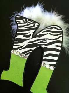 """Animal Print  Zebra Print Bling and Lime Wooden Letters, Initials, Names Embellished with Mirabou and Ribbons-9"""" Tall"""