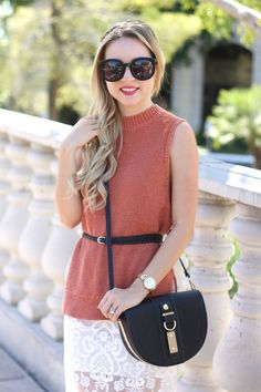 Sleeveless Sweater and lace skirt