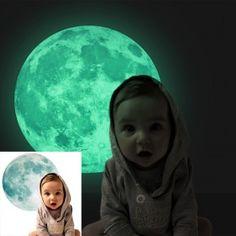 Glow in the dark moonlight wall sticker.