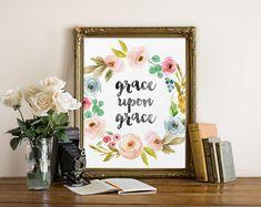 Watercolor Font, Grace Upon Grace, Christian Quote, Printable Wall Art, Christian Art, Religious Art, Bible Verse Print, Watercolor Print