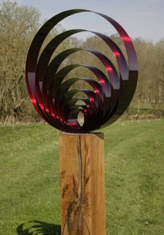Stainless steel & oak Abstract Public Art sculpture by artist Thomas Joynes titled: 'Echoes' £1000 #sculpture #art