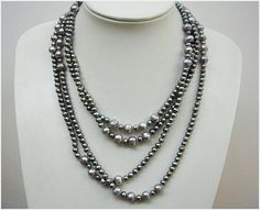 Pearl Necklace,Bead Necklace,Beaded Jewelry,Mothers Necklace - 85 Inch Single Strand Pearl Necklace With Black Gray Freshwater Pearl. $29.50, via Etsy.