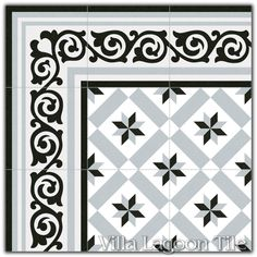 """""""Calvet Gris"""" Reproduction Encaustic Cement Tiles for commercial projects. New, high tech ceramic and porcelain processes producing low-maintenance, budget-conscious alternatives for high-volume commercial orders. Ceiling Painting, Border Tiles, Beautiful Bathrooms, Beautiful Homes, Restoration, Backyard, Texture, Projects, Villa"""