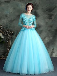 Delicate Sleeves Flower Applique Lace Up Back Ball Quinceanera Dress Long Gown Dress, Ball Gown Dresses, Pretty Dresses, Beautiful Dresses, Cute Dress Outfits, Turquoise Dress, Quince Dresses, Prom Dresses With Sleeves, Fantasy Dress