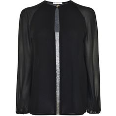 VERSACE COLLECTION Embellished Sheer Blouse ($400) ❤ liked on Polyvore featuring tops, blouses, embellished long sleeve top, long sleeve v neck blouse, see through blouse, versace blouse and transparent blouse