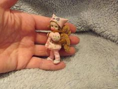 Miniature handmade BABY GIRL TODDLER & TEDDY BEAR BAG ooak DOLLHOUSE DOLL