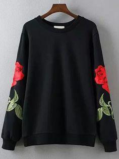 Sweat-shirt col rond avec broderie rose - noir -French SheIn(Sheinside)