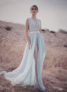 Z2 Ice Blue Mousseline Draped Gown, Hand Embroidered With Sequins And Laser-Cut Mirrors