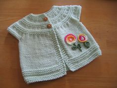 Ravelry Pattern Name-In Threes Baby Cardigan, project by chocolin, via Flickr  ~ The other sweater I want to do for Rylie this fall