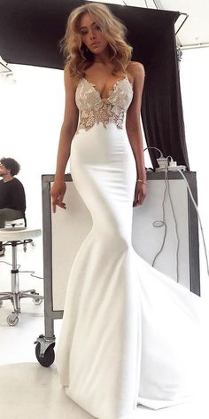 Charming Lace Sexy Backless Mermaid Jersey Prom Dresses, Customized service and Rush order are available. *** Customers need to know : All of the dresses don't come Lace Mermaid Wedding Dress, Mermaid Dresses, Dream Wedding Dresses, Wedding Evening Dresses, Ivory Wedding Dresses, Evening Gowns, Mermaid Mermaid, Cheap Bridal Dresses, Sexy Dresses