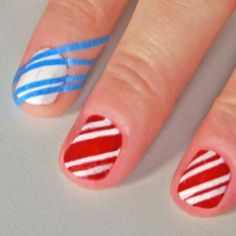 Cut thin strips of tape and put over nail, then paint over with color of your choice.