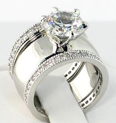 4.28 CT. Wide Solitaire CZ ETERNITY BAND Bridal Wedding 3 PC. Ring Set - SIZE 9 • $46.85 2 • $46.85