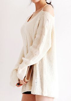Shoulder Cut Out Sweater - Ivory - Classy Casual Sweater For Women Fashion D, Autumn Fashion, Fashion Outfits, Womens Fashion, Hot Outfits, Dress Outfits, Fall Outfits, Dresses, Casual Sweaters