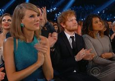 Front row view: The Voice coach and wife Helen Lasichanh were seated near Swift and Ed Sheeran