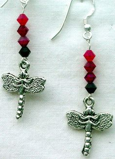 Shades of Red Dragonfly Swarovski Crystal Sterling Silver Earrings by AGreenWoods on Etsy
