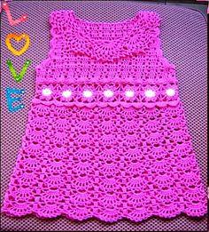 Ravelry: Pink Crocheted Dress for a Young Lady pattern by Svetlana M. Crochet Toddler, Crochet Bebe, Baby Girl Crochet, Crochet Baby Clothes, Baby Kids Clothes, Crochet For Kids, Knit Crochet, Crochet Dresses, Crochet Baby Blanket Beginner