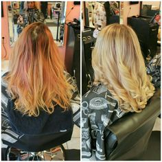 We did a #colourcorrection to blend the #pinktones and soften her #blondehair - Victoria #bboutiquesalon