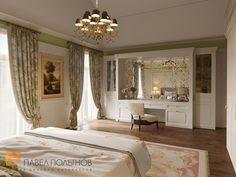 Фото: Дизайн спальни родителей - Интерьер загородного дома в стиле легкой классики, КП «Альпино», 430 кв.м.