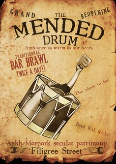 The Mended Drum poster by funkydpression on Deviantart Discworld Characters, Discworld Books, Terry Pratchett Discworld, The Last Unicorn, Neil Gaiman, Travel Posters, Drums, Geek Stuff, Animation