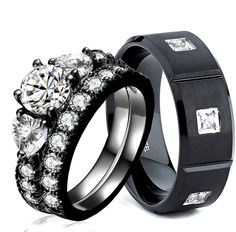 His and Hers 925 Sterling Silver Stainless Steel Wedding Rings Set Black CZ AAA | Jewelry & Watches, Engagement & Wedding, Engagement/Wedding Ring Sets | eBay!