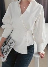 White Turndown Collar Long Sleeve Blouse on sale only US$33.48 now, buy cheap White Turndown Collar Long Sleeve Blouse at liligal.com