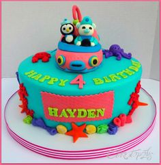 Octonauts cake. The client wanted a pink ship to make the cake more girly.