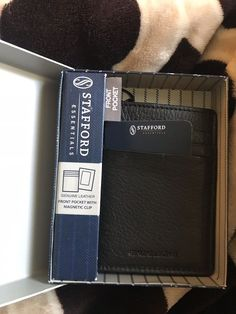 8e9409a2fb2 STAFFORD FRONT POCKET WALLET GENUINE LEATHER W  MONEY CLIP ON OUTSIDE BLACK  NEW  fashion