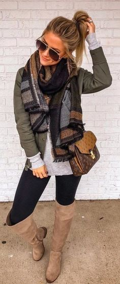 Fall winter grunge edgy fashion outfits - My StyleOversized warm scarves + army green jacket + gray shirt + black leggings + camel brown knee high boots. Winter Outfits For Teen Girls, Winter Mode Outfits, Cute Fall Outfits, Winter Fashion Outfits, Look Fashion, Autumn Winter Fashion, Casual Outfits, Fashion Edgy, Womens Fashion