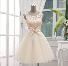 Champagne Lace Tulle Off The Shoulder Short Skirt PromDresses Ball Gown,Bow Abov… - Freizeitkleidung 2019 Pretty Outfits, Pretty Dresses, Beautiful Dresses, Dresses For Sweet 16, Awesome Dresses, Prom Gowns, Bridesmaid Dresses, Wedding Dresses, Lace Wedding