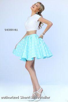 Short two piece polka dot skirt and crop top. Sherri Hill - 32247