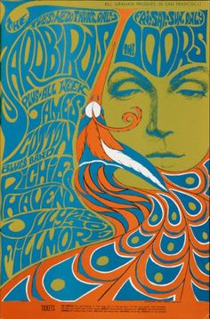 Bill Graham presents in San Francisco - The Yardbirds - The Doors - James Cotton Blues Band - Richie Havens - Fillmore-Plakat