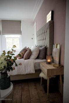 Pink bedroom with upholstered headboard | Bedroom design for a good night's sleep | byshnordic.com
