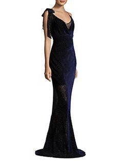 Diane von Furstenberg - Shoulder Knot Slip Floor-Length Gown