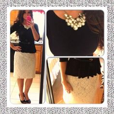 Nt the statement necklace Modest Skirts, Modest Outfits, Modest Fashion, Cute Outfits, Diva Fashion, Mommy Fashion, Womens Fashion, Cream Lace Skirt, Conservative Outfits