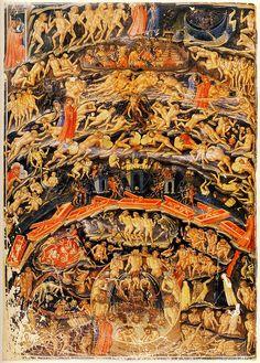 Inferno (Dante's Divine Comedy), by Bartolomeo di Fruosino, c.1430-35 (Folio 1v). (Bibliothèque Nationale, Paris, France, via Flickr/arthistory390)
