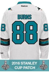 San Jose Sharks Brent Burns Official Away Reebok Replica Adult NHL Stanley Cup Patch Jersey