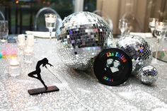 and Disco party centrepiece with mirror balls Mirror Centerpiece, Party Centerpieces, 80s Party, Disco Party, Mirror Ball, Snow Globes, Balls, Birthday Parties, Events
