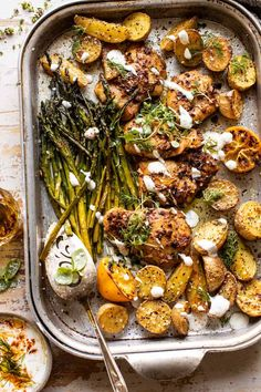 Sheet Pan Lemon Rosemary Dijon Chicken and Potatoes with Feta Goddess Sauce. - - Quick, easy, extra colorful, super flavorful, and so delicious. The perfect dinner to serve any night of the week.promise this is not your average sheet pan dinner! Dijon Chicken, Rosemary Chicken, Marinated Chicken, Baked Chicken, Feta Chicken, Chicken Asparagus, Healthy Chicken, Recipe Sheets, Half Baked Harvest