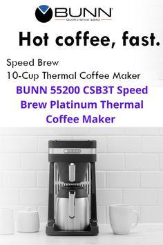 The Fastest Home Coffee Makers in America, now with an updated design. Speed Brew Coffee Makers can brew 10 cups of coffee in about 4 minutes because they store hot water in a stainless steel commercial grade tank allowing them to brew coffee on demand. Taller funnel - Our funnel is engineered to accommodate BUNN filters which are ¼ Inch taller than other filters. This unique design allows for the quick flow of water and prevents overflow of coffee grounds. Thermal Coffee Maker, Best Coffee Maker, Drip Coffee Maker, Coffee Brewer, Hot Coffee, Coffee Cups, Bunn Coffee, Brewing, Stainless Steel