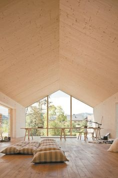 Minimalist Architecture, Interior Architecture, Cabin Design, House Design, Br House, Plywood Interior, Timber Ceiling, House In The Woods, Rustic Style