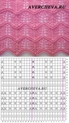 Узор 838 волнистый| каталог вязаных спицами узоров