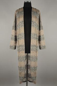 *** New Style *** Casual Long Sleeve Knit Cardigan in Chic Oversize Fit and Contrast Texture Stripes.