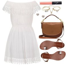 A fashion look from March 2016 featuring summer dresses, leather sole shoes and handbags crossbody. Browse and shop related looks. Dressy Outfits, Cute Outfits, Mexican Dresses, Dress For Success, Everyday Look, Look Cool, Fashion Advice, What I Wore, Dream Wardrobes