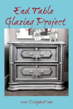 Do you love a good furniture makeover? This is the story of my ugly step sisters silver slipper furniture makeover. This is how you take free crappy furniture and turn it into princess furniture. Your carriage awaits! Table Furniture, Cool Furniture, Painted Furniture, Metallic Furniture, Furniture Repair, Grey Painted Rooms, How To Make Diy Projects, End Table Makeover, Bedroom Decor