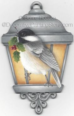 Chickadee ePacket by Donna Hodson - PDF DOWNLOAD #Painting-Epattern #Painting-Pattern #Chickadee-Ornament #Bird-Christmas-Ornament
