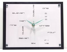 Modern Geometric Wall Clock : Numbers Green Mint Grey White And Black Back To…
