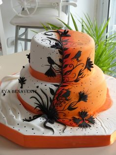 White & orange with black flowers & birds- THIS THIS THIS!