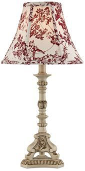 Antique Ivory French Candlestick Red Toile Shade Accent Lamp.