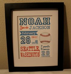 Baseball theme nursery print